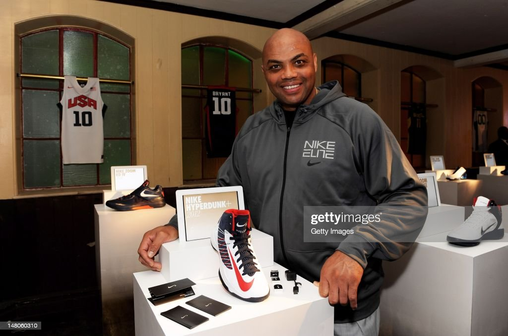 <a gi-track='captionPersonalityLinkClicked' href=/galleries/search?phrase=Charles+Barkley&family=editorial&specificpeople=202484 ng-click='$event.stopPropagation()'>Charles Barkley</a> poses with the latest basketball innovation, the Nike Hyperdunk+, which measures how high, how hard and how quick ballers play the game and will be worn by Nike sponsored Federations. <a gi-track='captionPersonalityLinkClicked' href=/galleries/search?phrase=Charles+Barkley&family=editorial&specificpeople=202484 ng-click='$event.stopPropagation()'>Charles Barkley</a> attended the launch of Nike's innovations for this summer, which showcased key technological advances in footwear and apparel. The launch of Nike's innovations for this summer took place at the Farmiloe Building on July 9, 2012 in London, England. www.nikeinc.com.