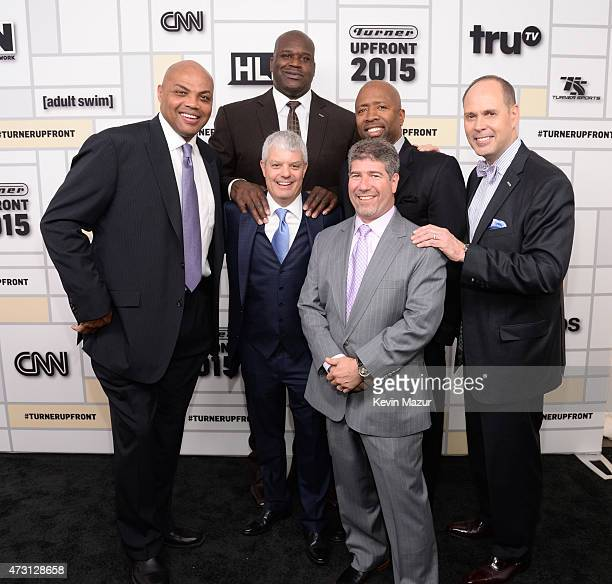 Charles Barkley Shaquille O'Neal David Levy President TBS Inc Kenny Smith Lenny Daniels and Ernie Johnson attend the Turner Upfront 2015 at Madison...