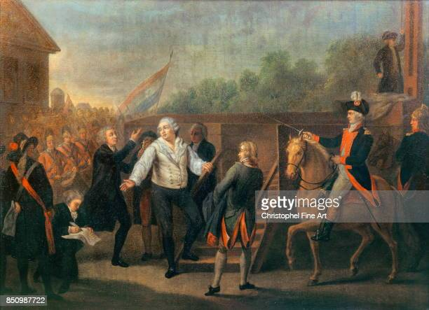 Charles Benazech King Louis XVI and Abbott Edgeworth de Firmont at the foot of the scaffold Oil on canvas 042 x 052 m Versailles Chateaux de...