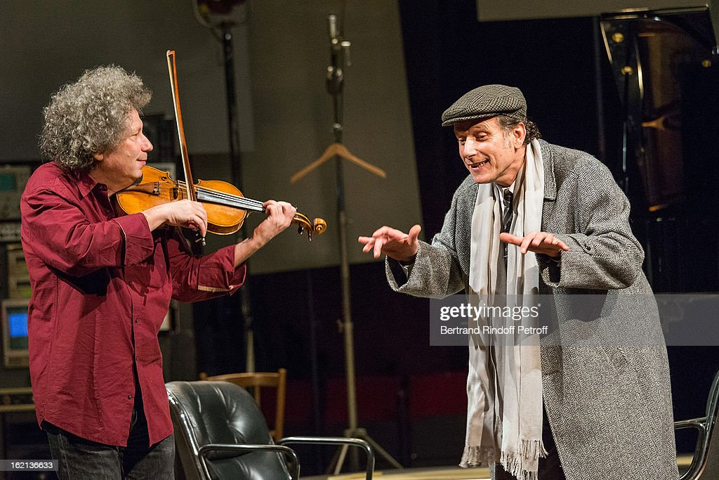 Charles Berling and Ami Flammer perform during the 'Gould/Menuhin' Final Rehearsal at Theatre de l'Atelier on February 19 2013 in Paris France