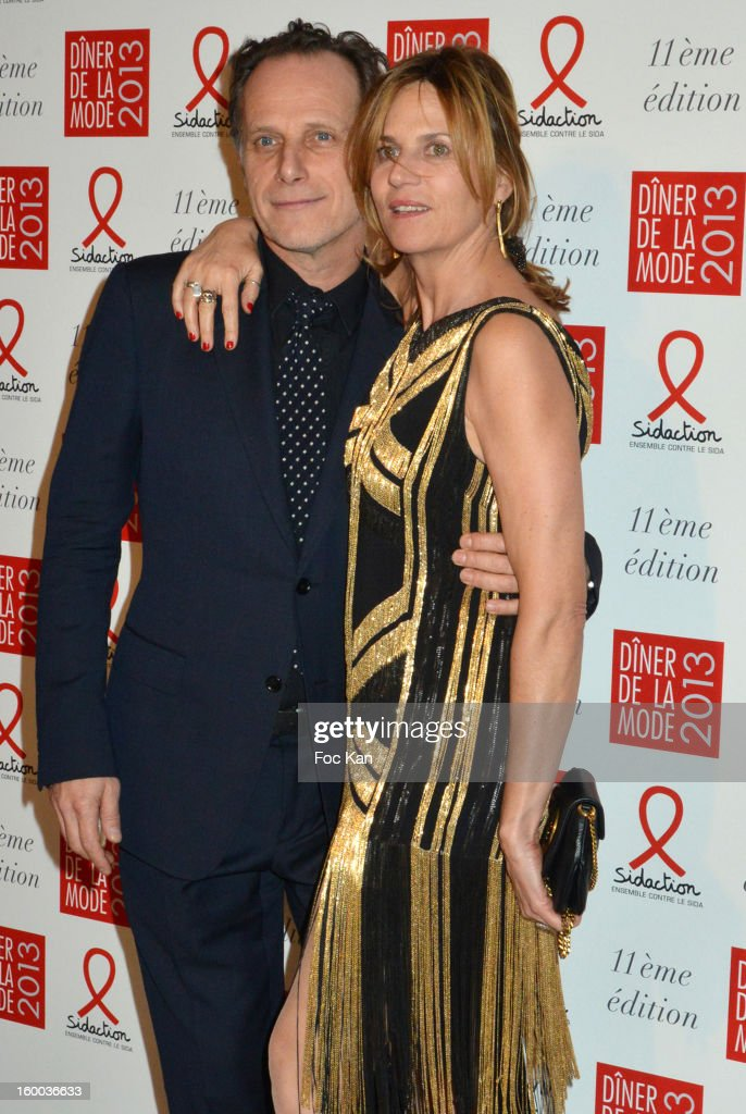 Charles Berling and Virginie Couperie Eiffel attend the Sidaction Gala Dinner 2013 at Pavillon d'Armenonville on January 24, 2013 in Paris, France.