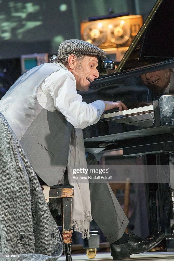 Charles Berling performs during the 'Gould/Menuhin' Final Rehearsal at Theatre de l'Atelier on February 19 2013 in Paris France