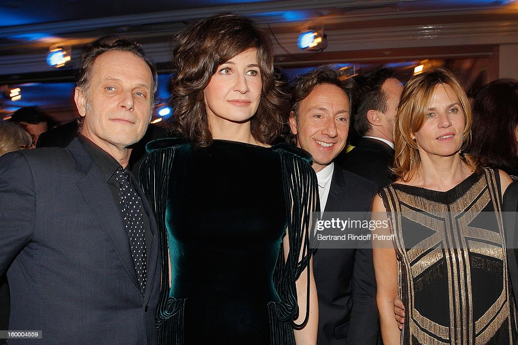 Charles Berling, Valerie Lemercier, Stephane Bern and Virginie Couperie-Eiffel attend the the Sidaction Gala Dinner 2013 at Pavillon d'Armenonville on January 24, 2013 in Paris, France.