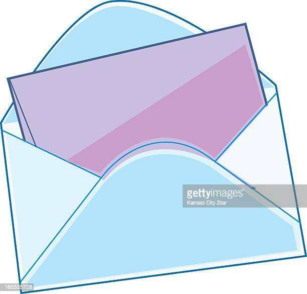 Charles Bloom color illustration of an open envelope with pink notepaper inside