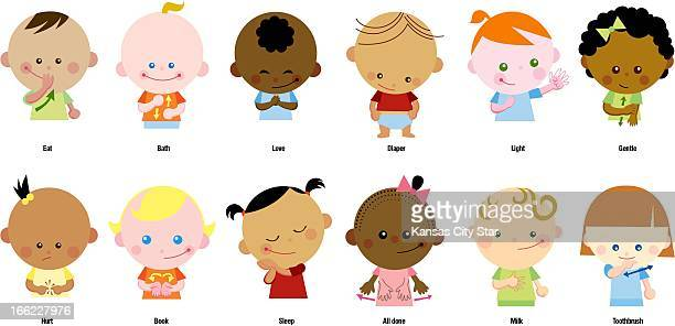 Charles Bloom color illustration of diverse babies doing baby sign language top row eat bath love diaper light gentle bottom row hurt book sleep all...