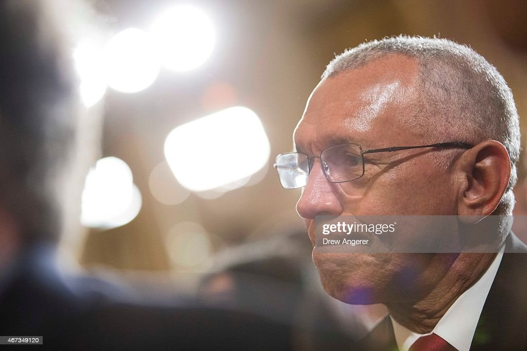 <a gi-track='captionPersonalityLinkClicked' href=/galleries/search?phrase=Charles+Bolden+-+NASA+Administrator&family=editorial&specificpeople=15164541 ng-click='$event.stopPropagation()'>Charles Bolden</a>, administrator of NASA, listens as President Barack Obama delivers remarks after viewing science projects at the White House Science Fair, at the White House, March 23, 2015 in Washington, DC. During his remarks, President Obama announced more than $240 million in pledges to boost the study of STEM fields.