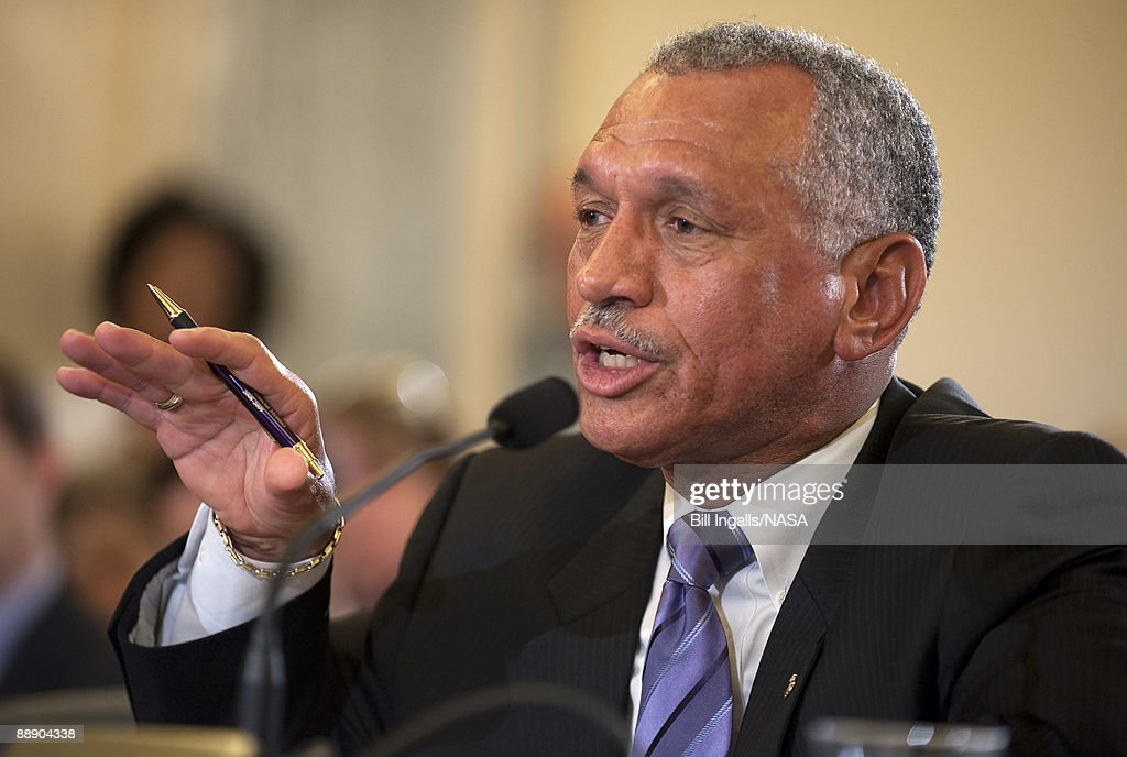 <a gi-track='captionPersonalityLinkClicked' href=/galleries/search?phrase=Charles+Bolden+-+NASA+Administrator&family=editorial&specificpeople=15164541 ng-click='$event.stopPropagation()'>Charles Bolden</a>, nominee for NASA Administrator, testifies at his confirmation hearing before the Senate Commerce, Science and Transportation Committee in the Russell Senate Office Building on Capitol Hill July 8, 2009 in Washington. Bolden emphasized the earth sciences apsects of NASA programs in response to questions posed by senators.