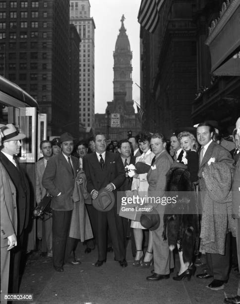 Charles BoyerPat O'BrienFrank McHughJames CagneyKarin BoothBob Hope at the LA train station aka Union Station as part of the Hollywood Victory...