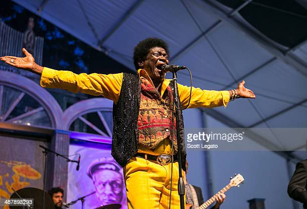 Charles Bradley performs during the 2014 New Orleans Jazz Heritage Festival at Fair Grounds Race Course on May 2 2014 in New Orleans Louisiana