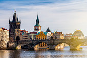 Charles Bridge (Karluv Most) and Lesser Town Tower, Prague, Czech Republic