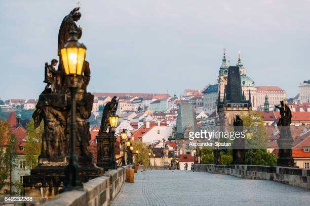 Charles Bridge and Mala Strana (Lesser Town) early in the morning, Prague, Czech Republic