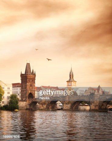 Charles bridge and Vltava river in Prague