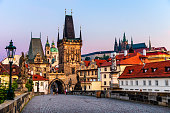 charles bridge and Castle of Prague in the morning. Czech Republic