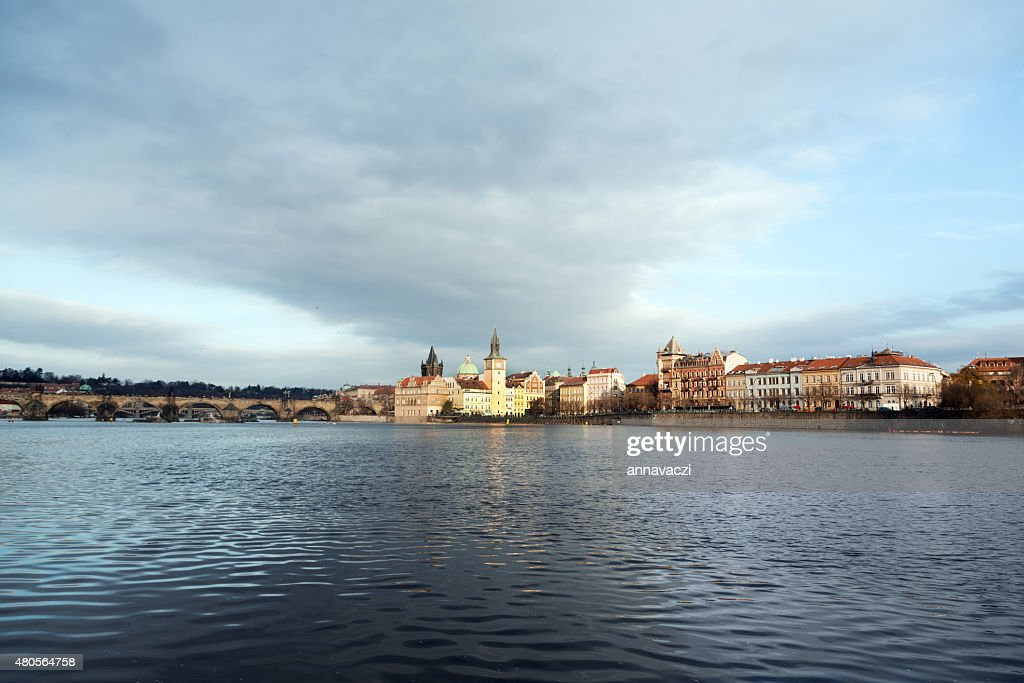 Charles Bridge in Prague at dawn Czech Republic : Stock Photo