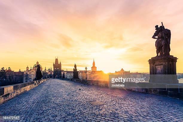 Charles Bridge in Prague at Early Morning