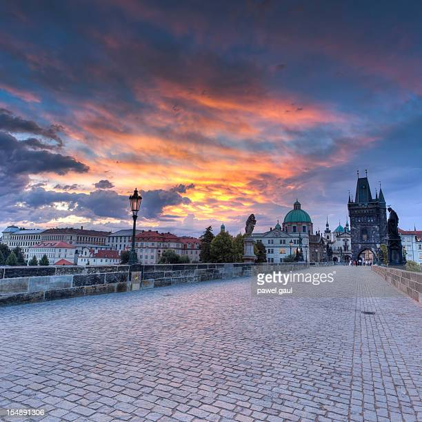 Charles bridge in Prague during sunrise