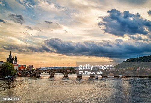 Charles Bridge of Prague under Sunset