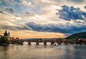 Charles Bridge of Prague under Sunset