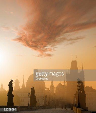 Charles bridge Prague Czech Republic at dawn