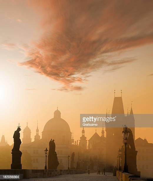 Charles bridge Prague Czech Republic at dawn