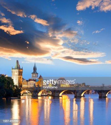 Charles bridge Prague Czech Republic at night