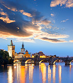 Charles bridge Prague Czech Republic at night