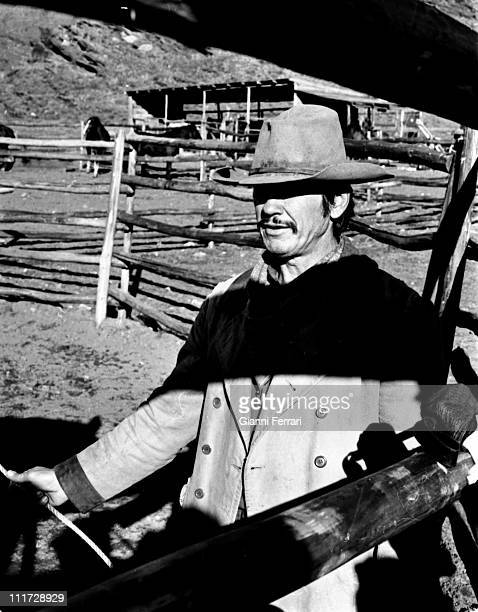 Charles Bronson during the filming of the movie 'Wild Horses' directors John Sturges and Duilio Coletti First December 1972 Almeria Spain