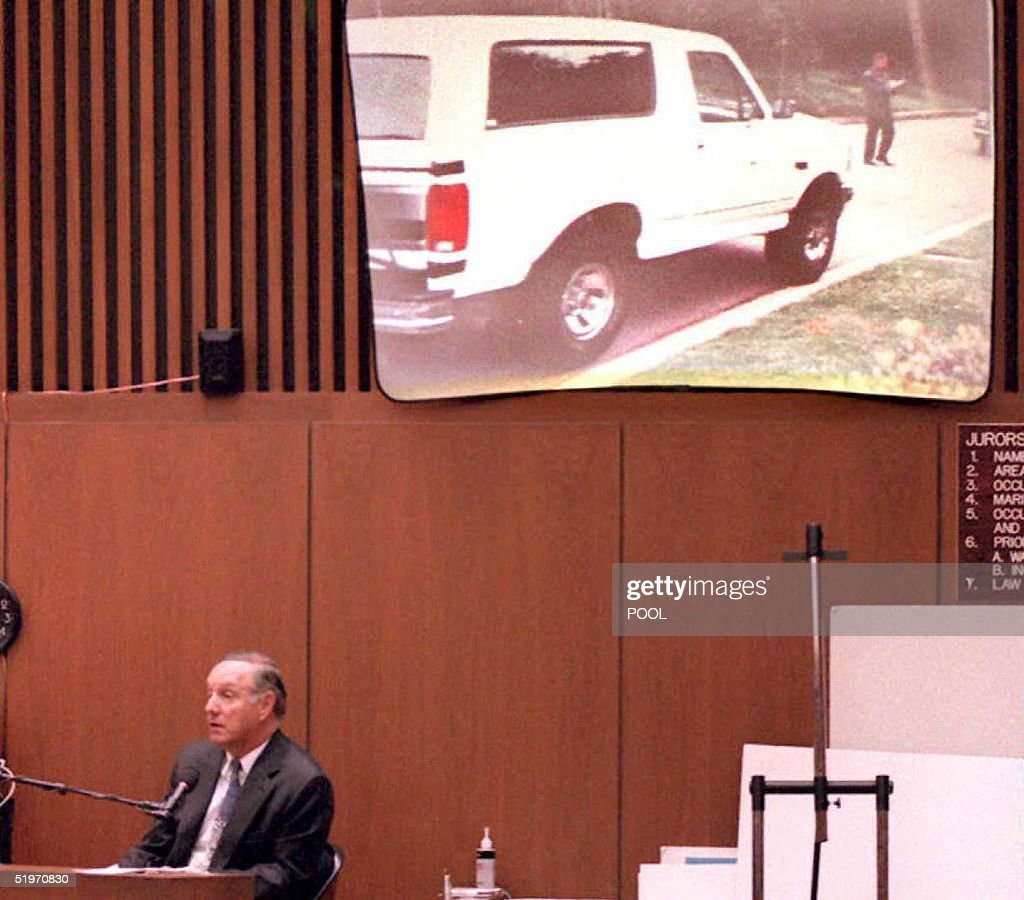 Charles Cale, a neighbor of O.J. Simpson, testifies that Simpson's Ford Bronco (on screen above) was not on the street in front of the Simpson's estate between 9:30 to 9:45 pm the night of the murders 31 March in the O J Simpson murder trial. Prosecutors claim that Simpson drove the Bronco from the murder scene to his home on 12 June the night of the murders.