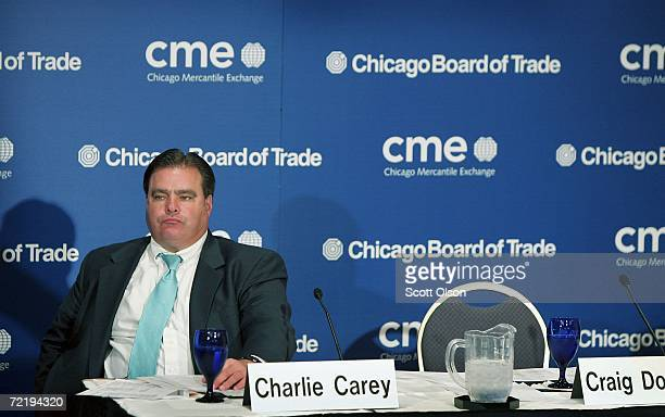Charles Carey Chairman of the Chicago Board of Trade listens to speakers during a press conference October 17 2006 in Chicago Illinois It was...
