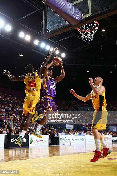 Charles Carmouche of the Kings lays the ball up during the round one NBL match between the Sydney Kings and the Melbourne Tigers at Sydney...