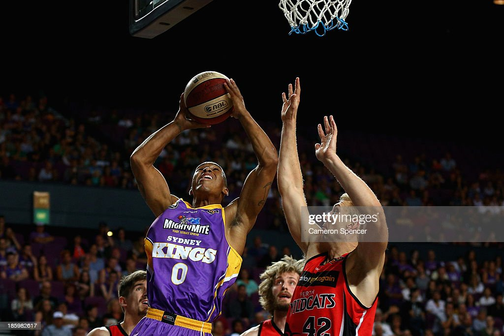 Charles Carmouche of the Kings lays up during the round three NBL match between the Sydney Kings and the Perth Wildcats at Sydney Entertainment Centre in October 27, 2013 in Sydney, Australia.