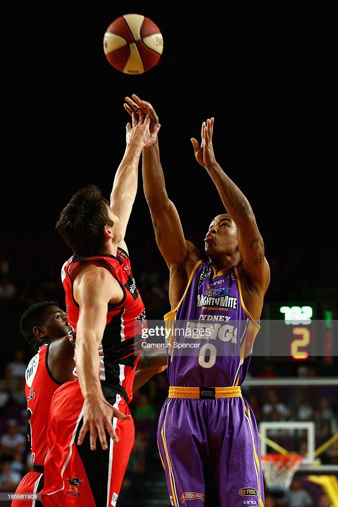 Charles Carmouche of the Kings takes a shot during the round three NBL match between the Sydney Kings and the Perth Wildcats at Sydney Entertainment Centre in October 27, 2013 in Sydney, Australia.
