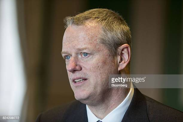 Charles 'Charlie' Baker governor of Massachusetts speaks during an interview at the Statehouse in Boston Massachusetts US on Monday April 25 2016...