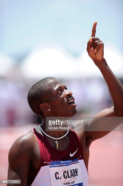 Charles Clark of Florida State University celebrates his victory in the 200 meter dash during the Division I Men's Outdoor Track and Field...