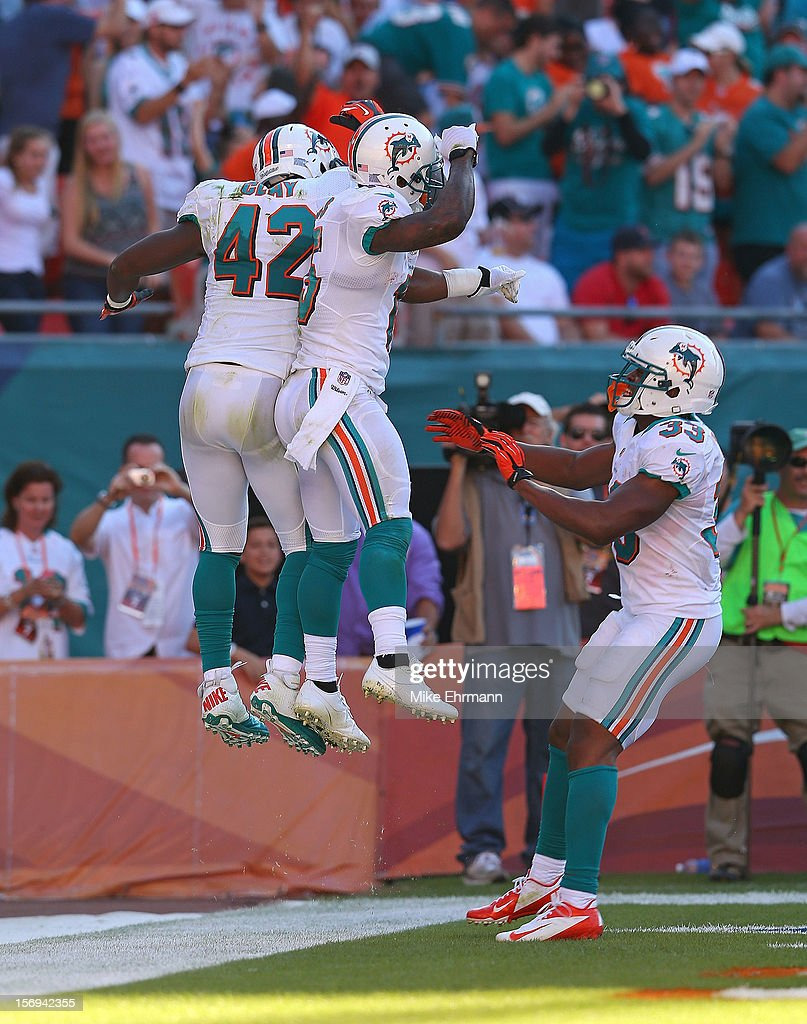 Charles Clay #42 and Davone Bess #15 of the Miami Dolphins celebrate a touchdown during a game against the Seattle Seahawks at Sun Life Stadium on November 25, 2012 in Miami Gardens, Florida.