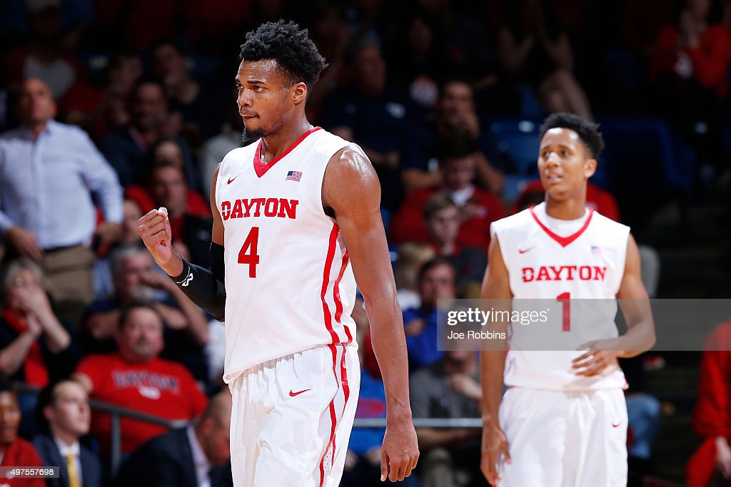 Charles Cooke of the Dayton Flyers celebrates against the Alabama Crimson Tide in the second half of a game at University of Dayton Arena on November...