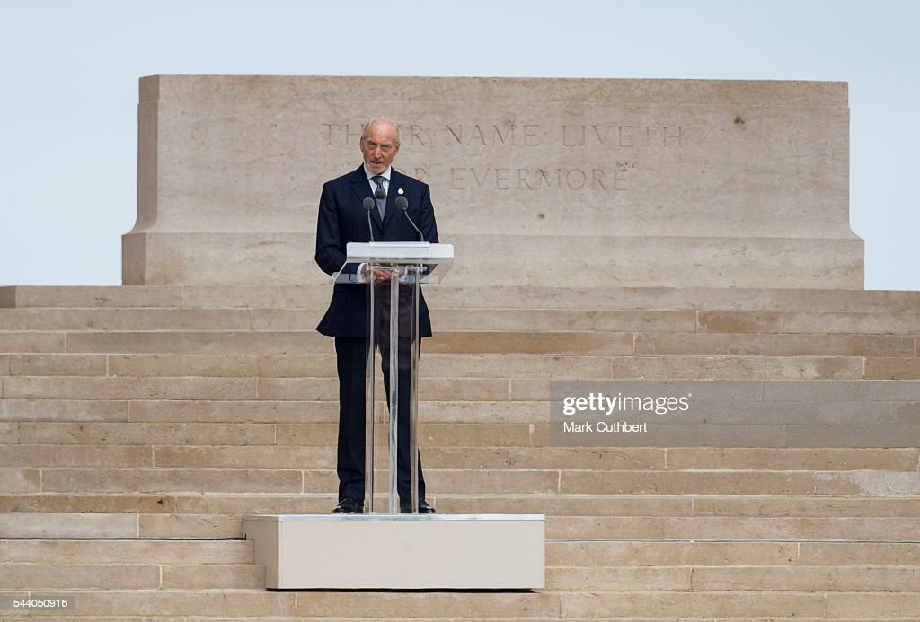 <a gi-track='captionPersonalityLinkClicked' href=/galleries/search?phrase=Charles+Dance&family=editorial&specificpeople=206817 ng-click='$event.stopPropagation()'>Charles Dance</a> gives a reading at a Commemoration of the Centenary of the Battle of the Somme at The Commonwealth War Graves Commission Thiepval Memorial on July 01, 2016 in Thiepval, France.