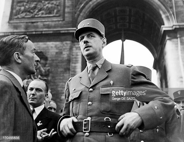 Charles De Gaulle And Georges Bidault In Paris France On August 26 1944 Charles De Gaulle And Georges Bidault in front Arc de triomphe