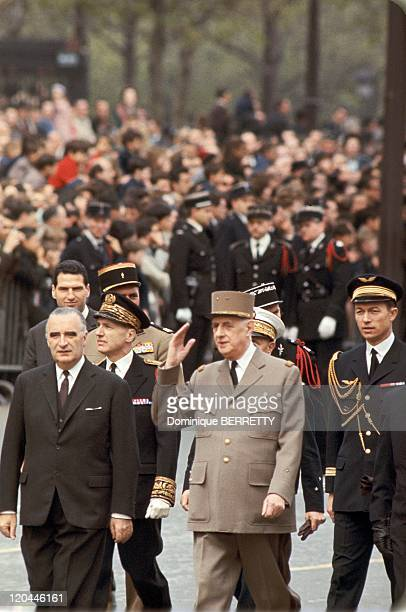 Charles De Gaulle And Georges Pompidou In Paris France On January 01 1967 General De Gaulle and Georges Pompidou during the twentythird anniversary...