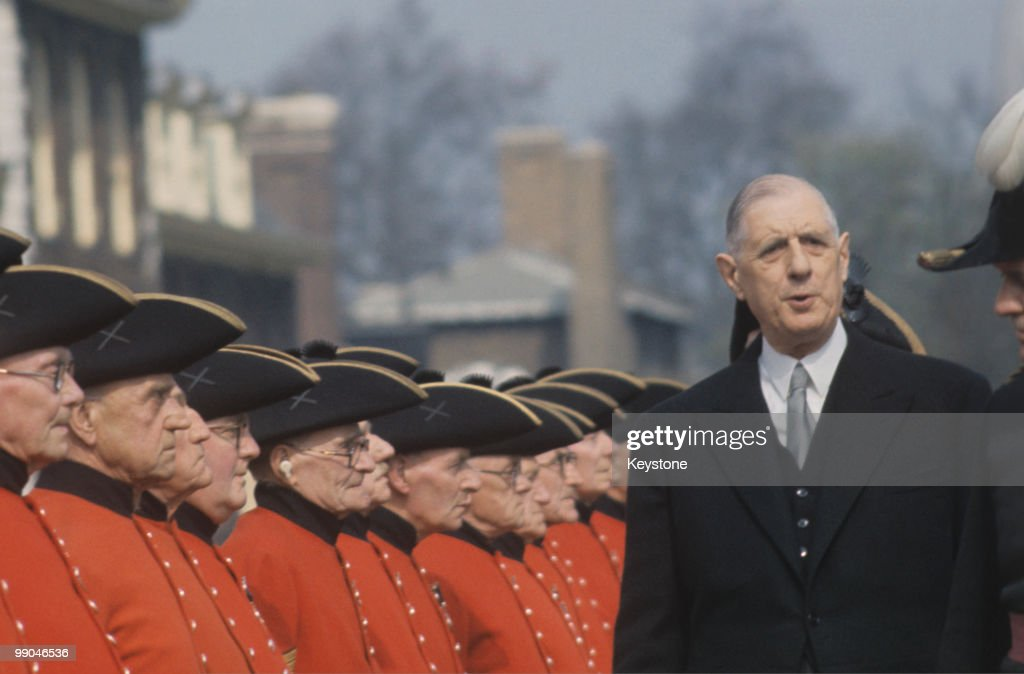 Charles de Gaulle (1890-1970), French President, inspecting the Chelsea Pensioners in London during a state visit to Great Britain, April 1960.