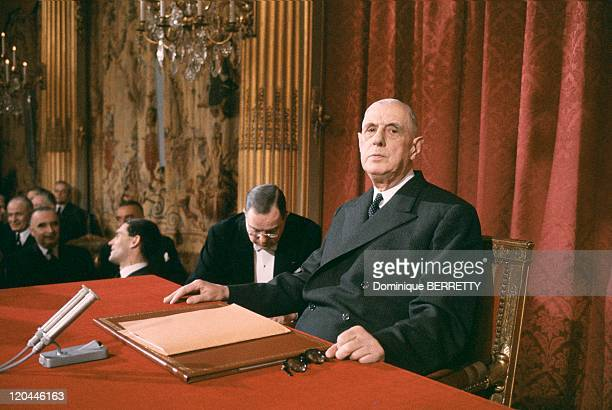 Charles De Gaulle In Paris France In 1965 Press conference at the Elysee