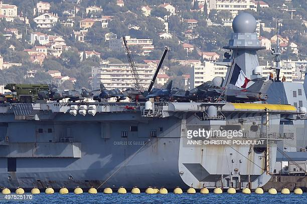 Charles de Gaulle the flagship of the French Navy and the largest western European warship currently in commission is seen anchored in the military...