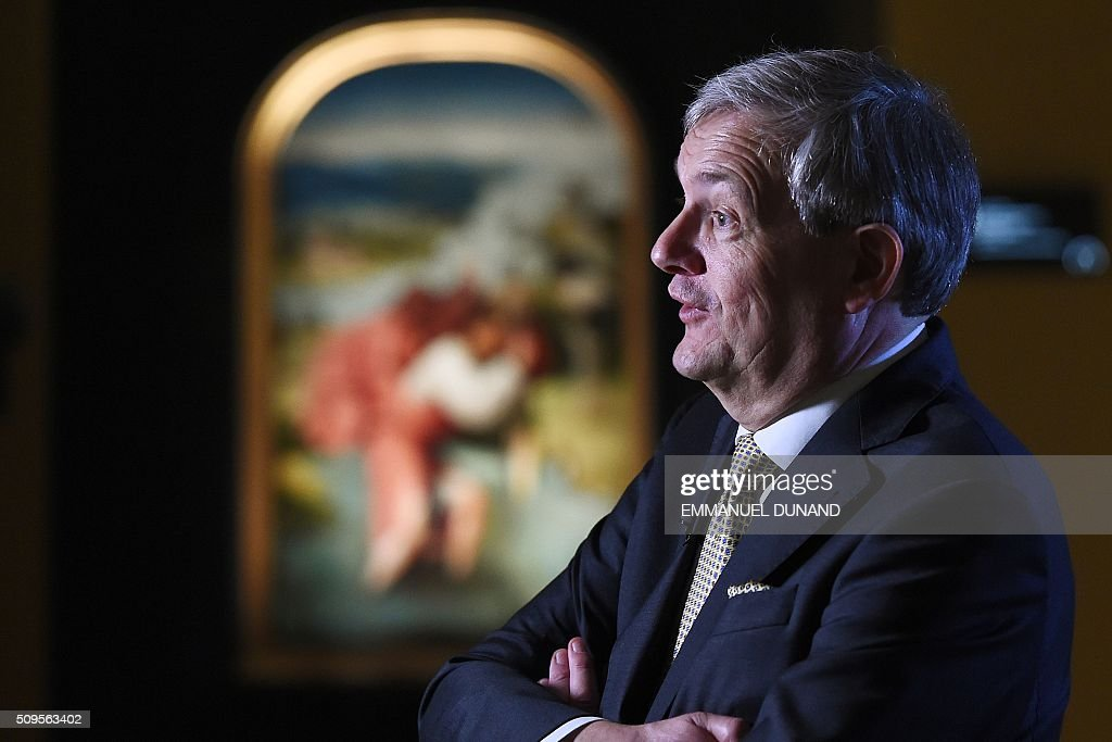 Charles de Mooij, director of the Noordbrabants Museum, gives an interview during a press preview of the exhibition 'Hieronymus Bosch, Visions of a Genius' at the Noordbrabants Museum in Den Bosch on February 11, 2016. To mark the 500th anniversary of Dutch painter Hieronymus Bosch's death, a small museum in his hometown has managed to bring most of the last 25 known surviving paintings by the man dubbed 'the devil's painter' for a major exhibition of his work scheduled from February 13 to May 8, 2016. / AFP / EMMANUEL DUNAND