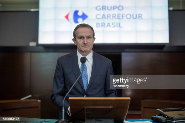 Charles Desmartis chief executive officer of Grupo Carrefour Brasil pauses while speaking during the initial public offering of Atacadao SA the...