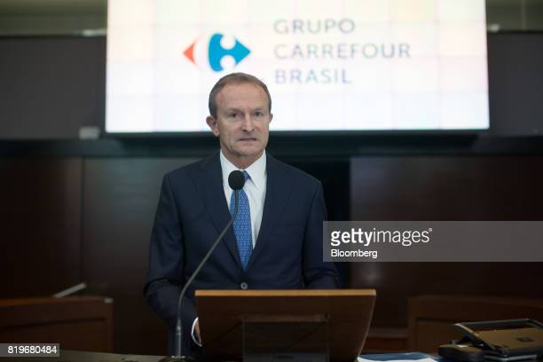 Charles Desmartis chief executive officer of Grupo Carrefour Brasil speaks during the initial public offering of Atacadao SA the Brazilian unit of...
