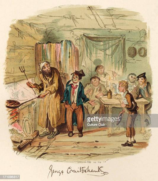 Charles Dickens' book 'Oliver Twist' illustration by George Cruikshank of Oliver Twist with Fagin and his boys English novelist 18121870