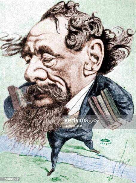Charles Dickens caricature of the English novelist by André Gill From Eclipse 14 June 1868 Dickens hurries from London to Paris to read from his...