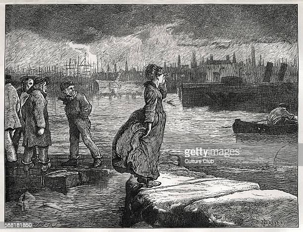 Charles Dickenss novel Our Mutual Friend illustration entitled Lizzie looking for her father saw him coming and stood upon the causeway that we might...