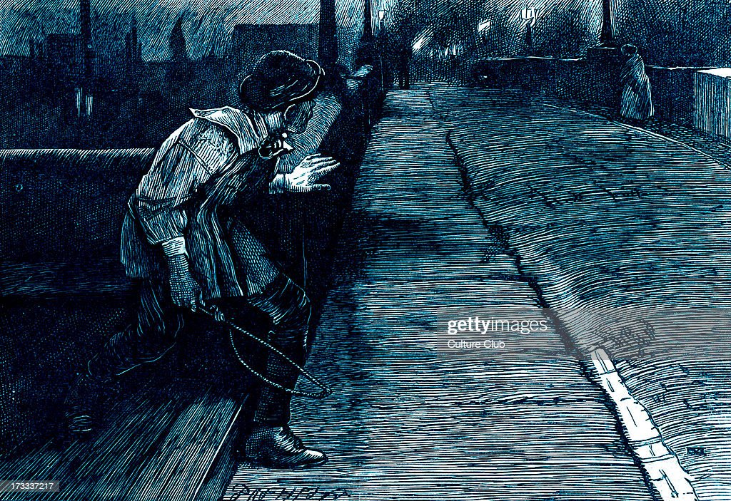 Charles Dickens's ' The Adventures of Oliver Twist ', first published 1838. Caption: ' When she was about the same distance in advance as she had been before, he slipped quietly down and followed her again. ' Description of scene: Noah follows Nancy as she goes to meet Rose. Chapter 44. Illustration by James Mahoney 1816-79.