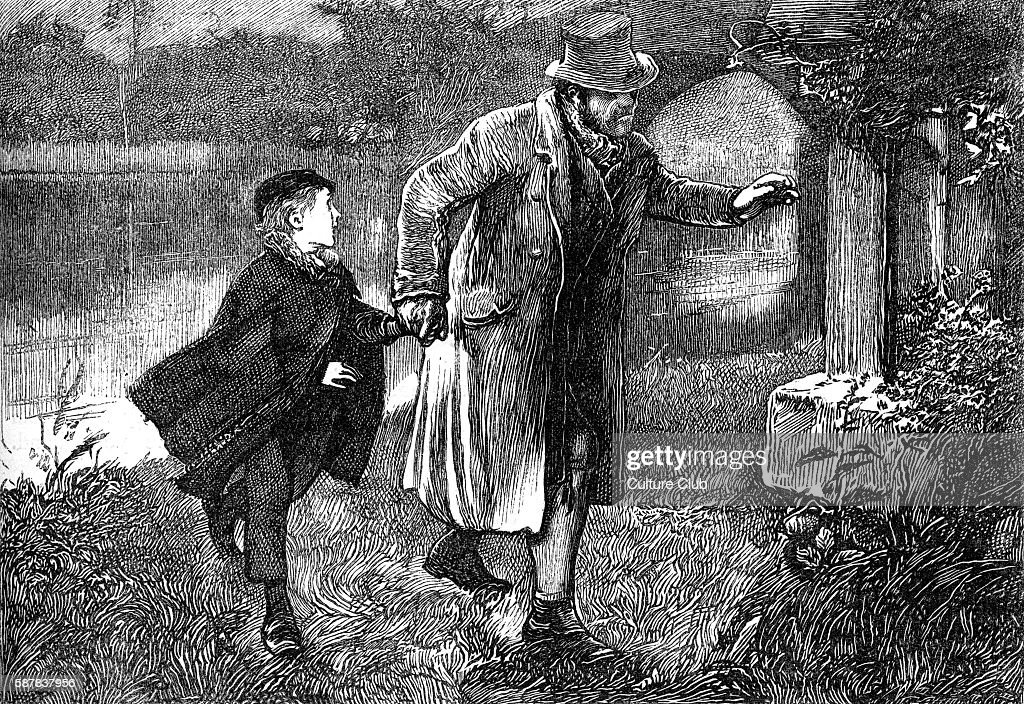 Charles Dickenss The Adventures of Oliver Twist , first published 1838. Caption: Sikes, with Olivers hand in his, softly approached the low porch. Description of scene: Sikes leads Oliver by the hand. Chapter 18. Illustration by James Mahoney 1816-1879.